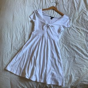 White Tie Front Skater Dress